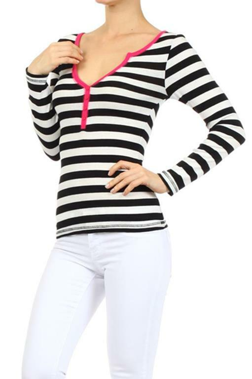 Stripes Top With Colored Hem at Neck and center Buttoning - SURELYMINE