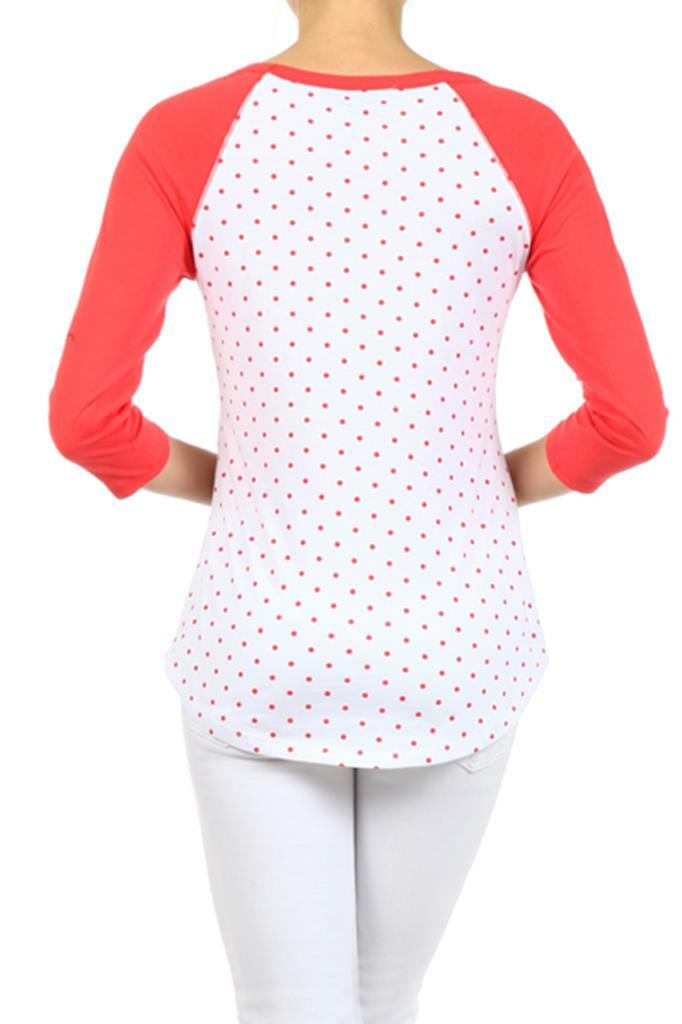 Polka Dot Knit Raglan Top with boat and a loose Fit Coral