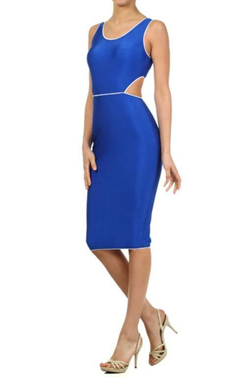 Cut Out Back Contrast Color Piping Details Midi Dress