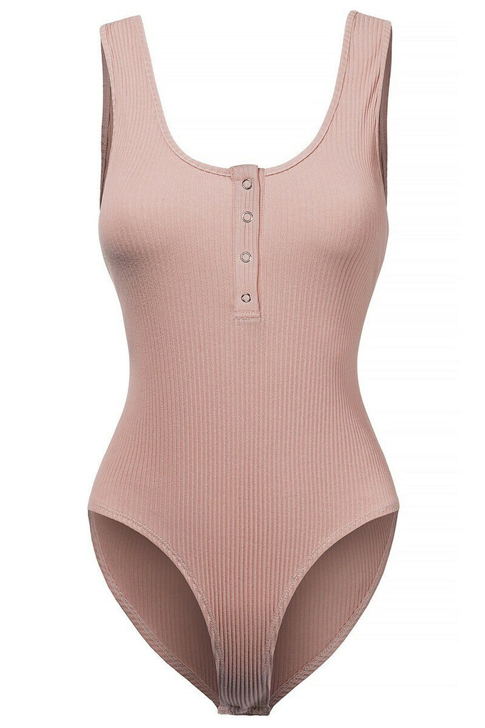 Henley Scoop Neck Ribbed Knit Bodysuit Dusty Pink
