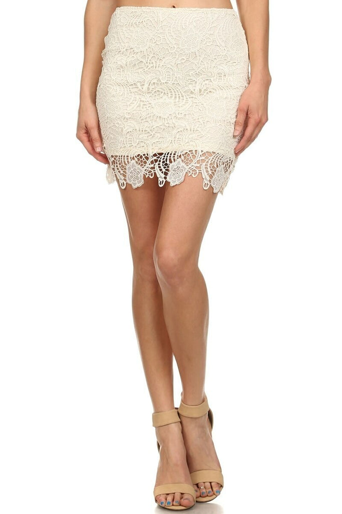 Pull Me In Crochet Mini Lace Skirt Ivory