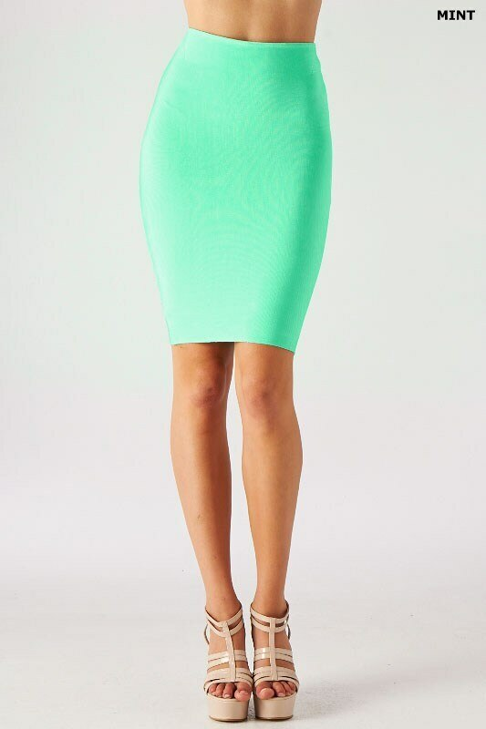 Luxe Mode Pencil Skirt in Mint - SURELYMINE
