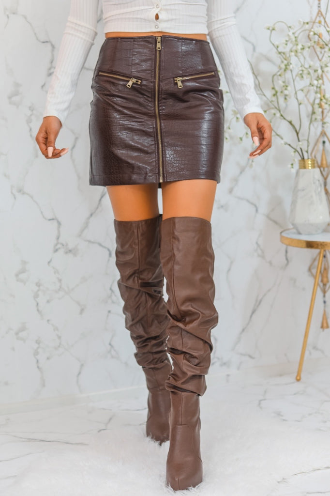 Andrea Leather Mini Skirt Brown - SURELYMINE
