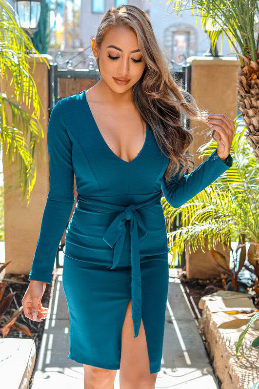 Lizzie Deep V Neck Long Sleeves with Slit Bodycon Midi Dress Teal - SURELYMINE