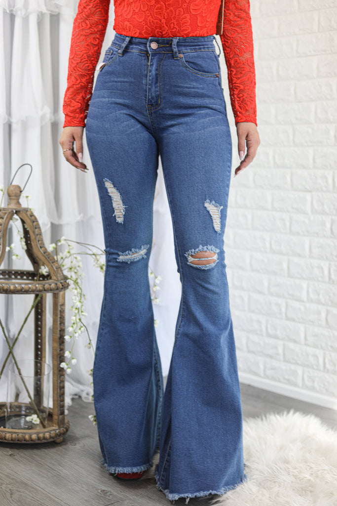 Make it Flare Bell Bottoms Jeans - SURELYMINE