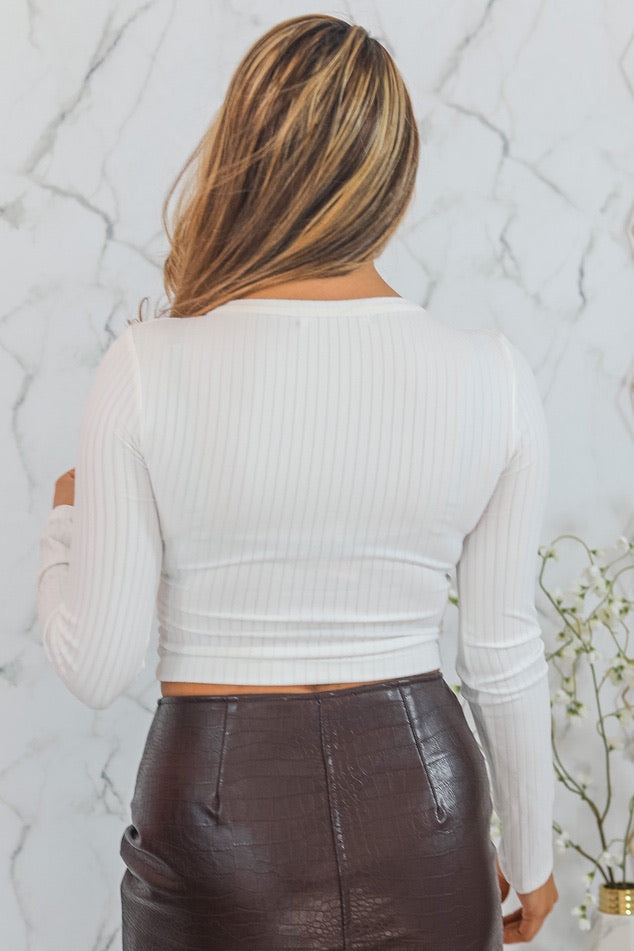 Ariella Button Up Ribbed Crop Top White - SURELYMINE