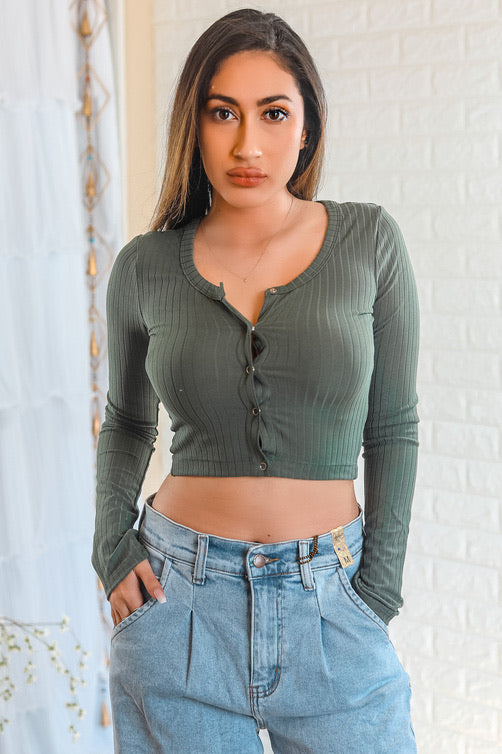 Ariella Button Up Ribbed Crop Top Olive