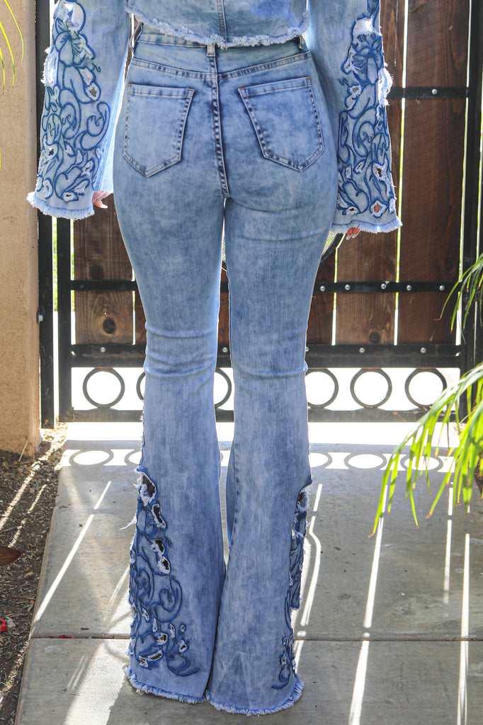 Set The Record Bell Bottom Jeans - SURELYMINE