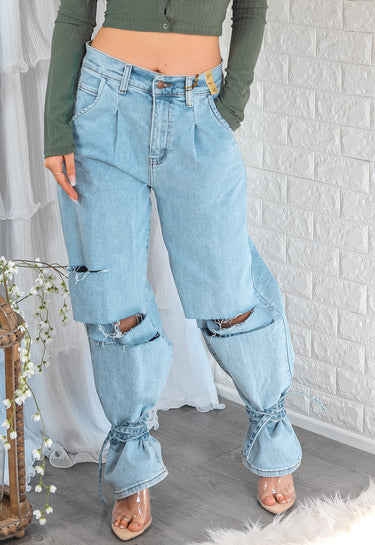 Calabasas Ripped Jeans with Ankle Ties - SURELYMINE