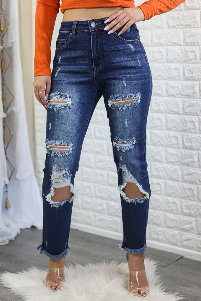 Major Cut Out High Waist Distressed Denim Jeans - SURELYMINE
