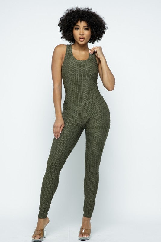 Scrunch Butt Lifting Anti Cellulite Honeycomb Textured Jumpsuit - SURELYMINE