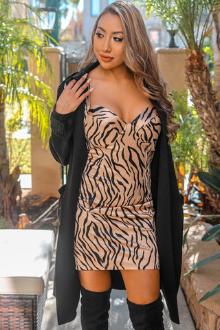 Dangerous Love Zebra Print Bodycon Dress - SURELYMINE