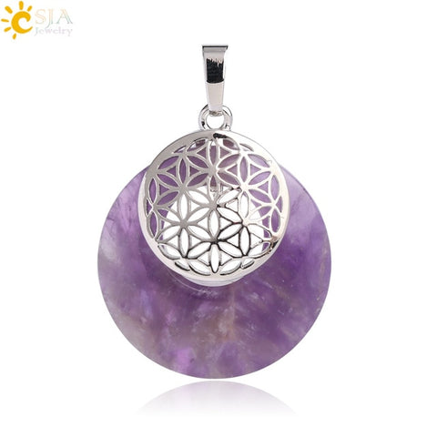 Natural Flower of Life Quartz Mandala Pendant For Yoga Chakras Reiki Healing Jewelry