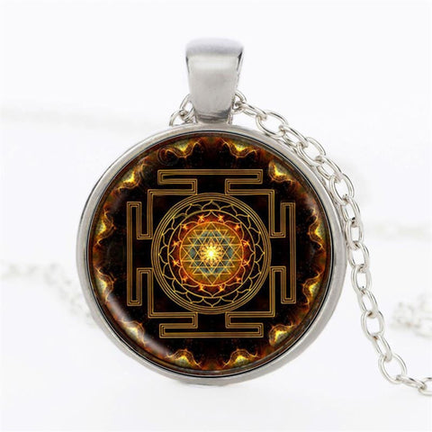 Spiritual Sri Lanka Yantra Pendant Necklace Sacred Geometry