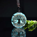 Blue Orgonite Crystal Tree Of Life Energy Pendant