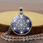 Flower of Life Metatron Cube Sacred Geometry Chakra Pendant Necklace Spiritual Jewelry
