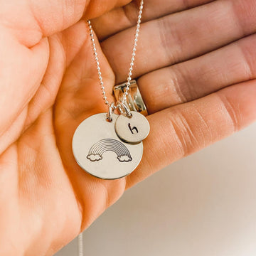 Silver Rainbow Baby Necklace with Initial Disc