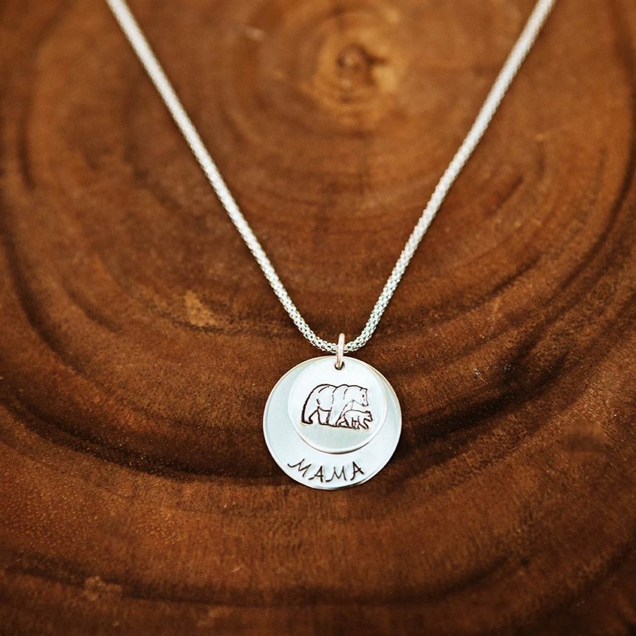 Mama Bear Sterling Silver 2 Disc Necklace