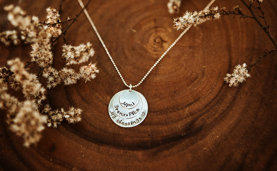 Silver 3 Disc Layer Necklace
