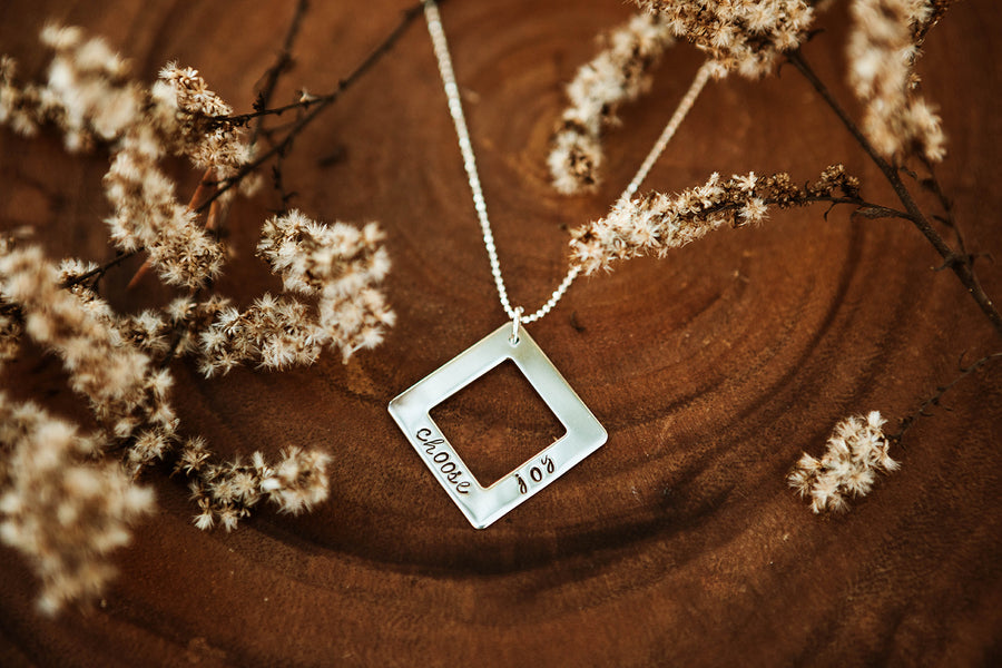 Silver Square Washer Necklace
