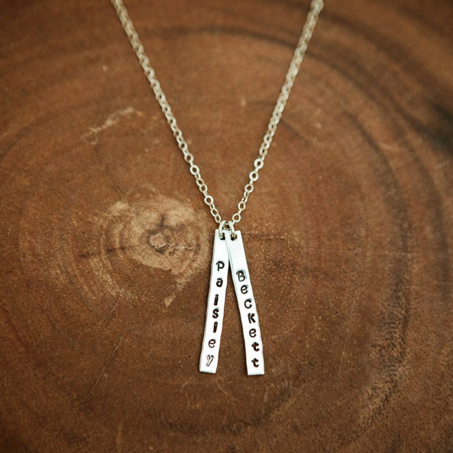 Silver Skinny Multi Bar Necklace