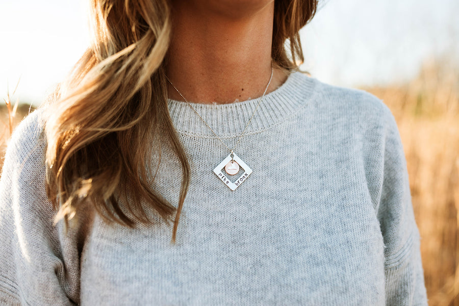 Silver Square Washer with Copper and Heart Charm Necklace