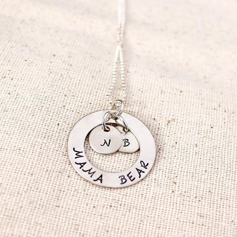 Silver Washer Necklace with Initials