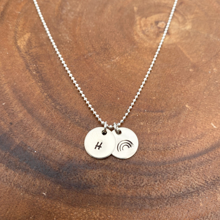 Small Rainbow Disc Necklace + Initial