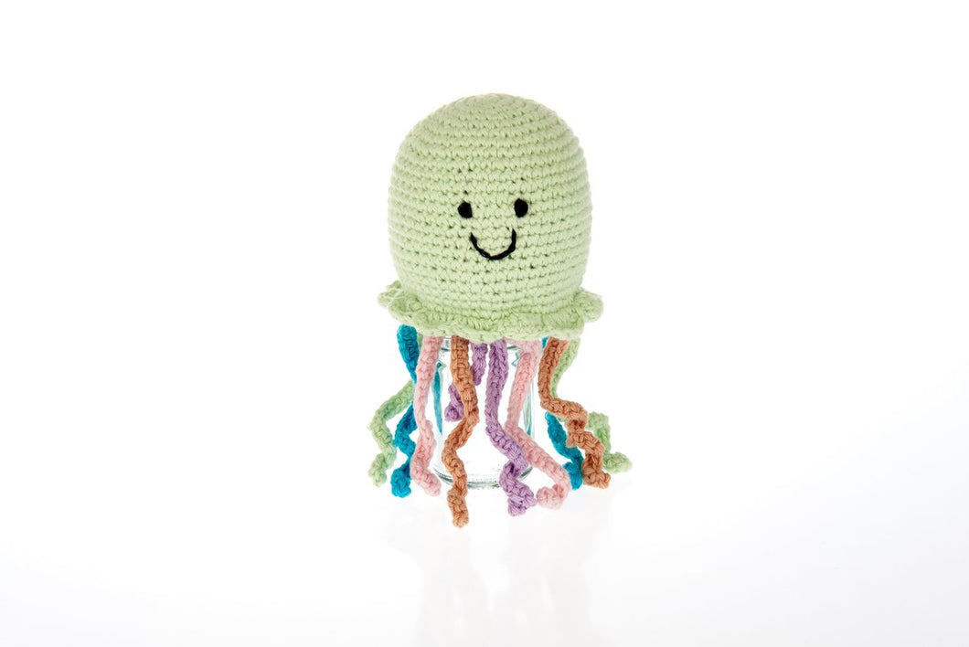 FAIR TRADE CROCHET COTTON JELLYFISH BABY RATTLE