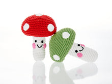 Load image into Gallery viewer, CROCHET COTTON FRIENDLY TOADSTOOL BABY RATTLE IN RED