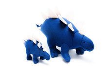 Load image into Gallery viewer, SMALL BLUE KNITTED STEGOSAURUS DINOSAUR RATTLE