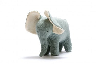 SMALL TEAL ORGANIC COTTON ELEPHANT TOY