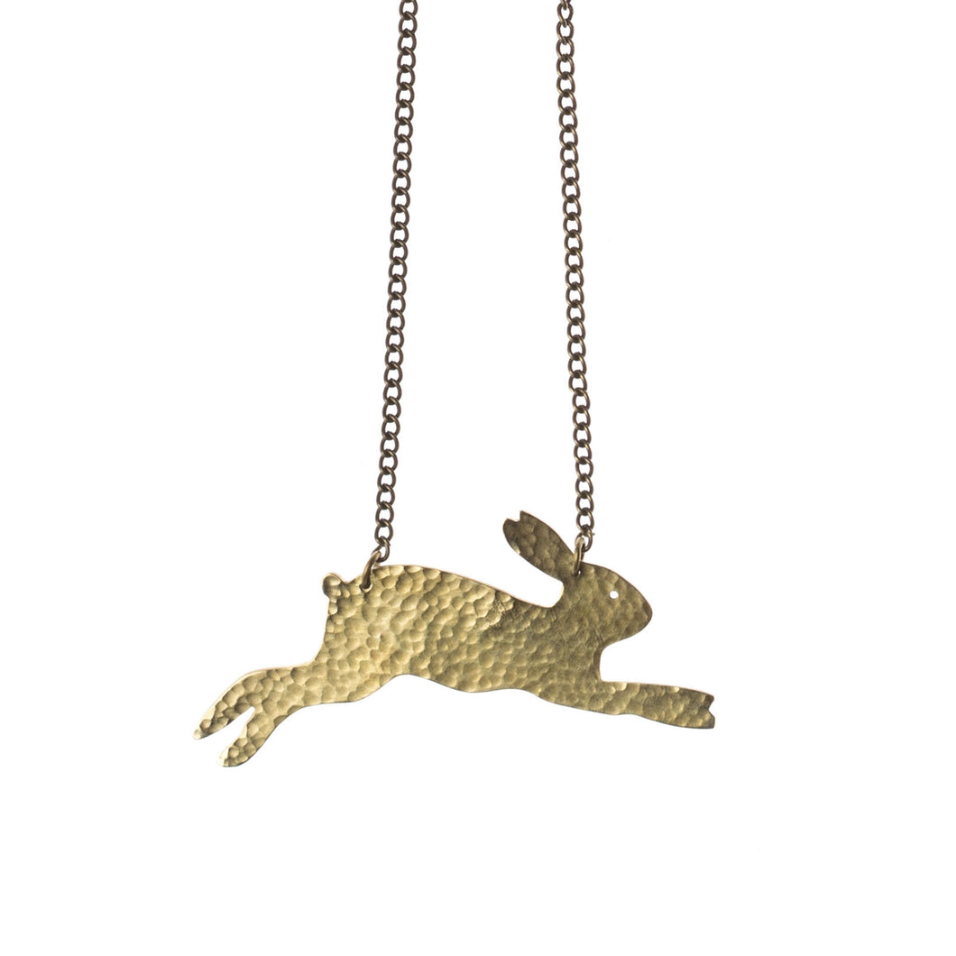 Hammered Brass Hare Necklace - just trade