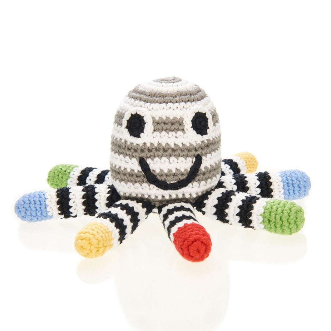 COTTON OCTOPUS RATTLE, BLACK & WHITE, SENSORY TOY