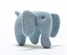 Load image into Gallery viewer, KNITTED BLUE ORGANIC COTTON ELEPHANT BABY RATTLE SUITABLE FROM BIRTH