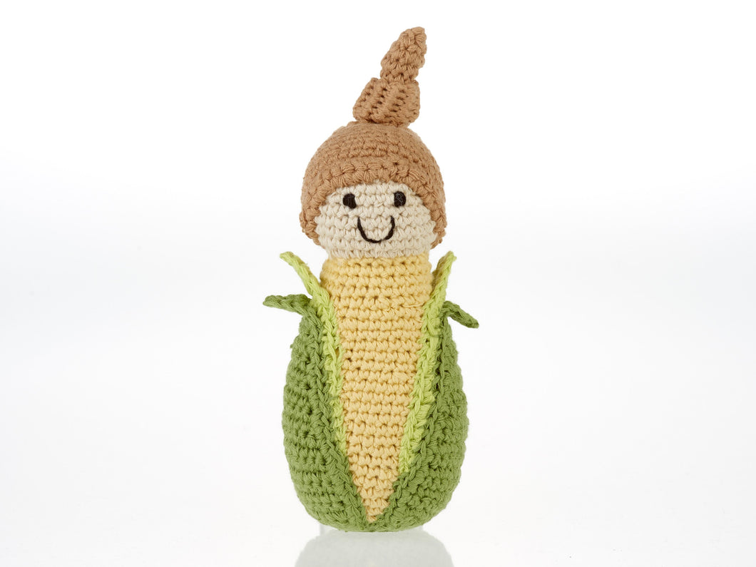 FAIR TRADE COTTON CROCHET FRIENDLY BABY SWEETCORN BABY RATTLE