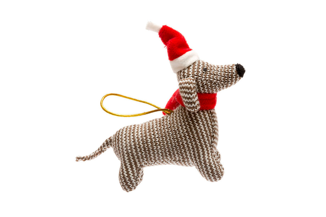 KNITTED SAUSAGE DOG CHRISTMAS DECORATION - Best Years
