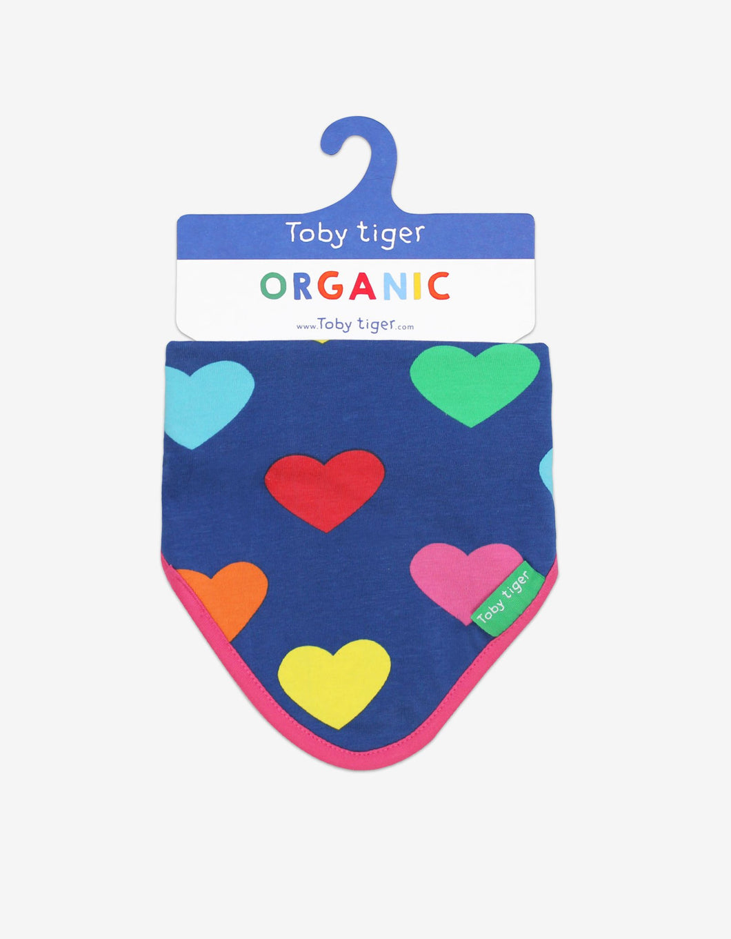 Organic Cotton Multi Heart Print Dribble Bib - Toby Tiger