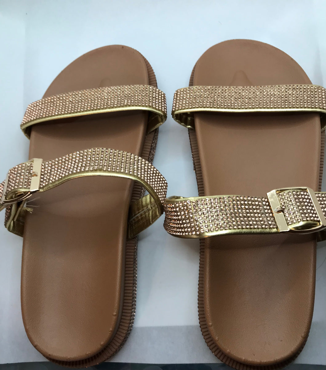 Gold Casual Rhinestone Sandals