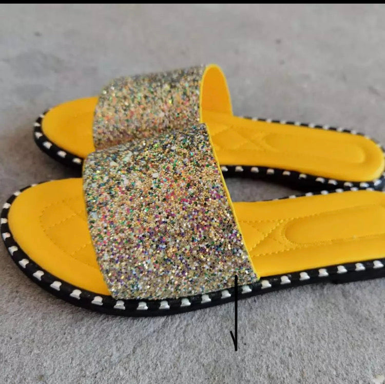 Yellow Sparkle Sandals