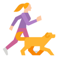 Person running with energetic dog