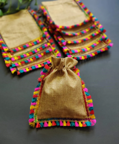 Handcrafted Jute Borders Strings Potli (Set of 5) - Krishna Jute Bag Co.