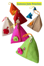 Load image into Gallery viewer, Handcrafted Jute Samosa Pouches (BUY 3 GET 1 FREE )