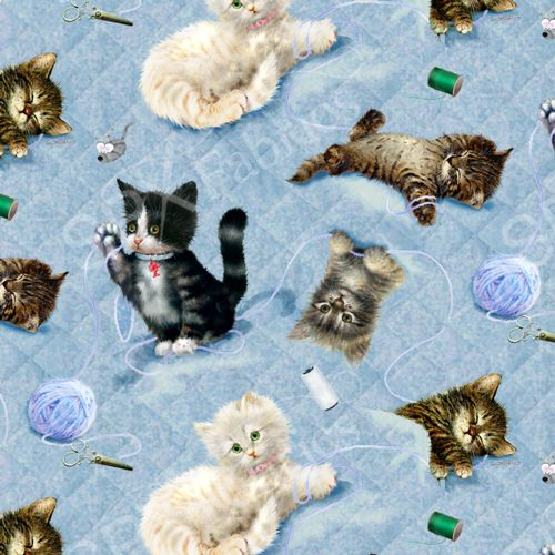 Fat Quarter Frenzy Other Krafty Kittens Blue