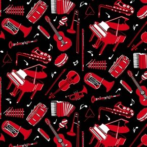 Musicality Red Instruments on a Black Background.