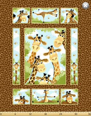 Zoe the Giraffe Quilt Panel