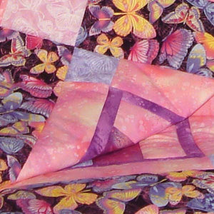 NQ Butterfly Strip Quilt Quilt Kit Pink