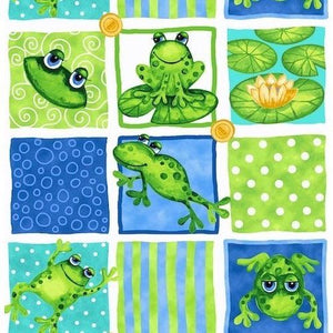 End of Bolt Blank Quilting Green and Dark Blue Frog Fabric