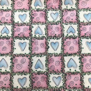End of Bolt Blue Hearts in a Pink and White Patchwork