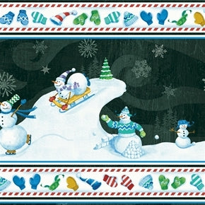 Christmas Snowmen Border Snow Fun